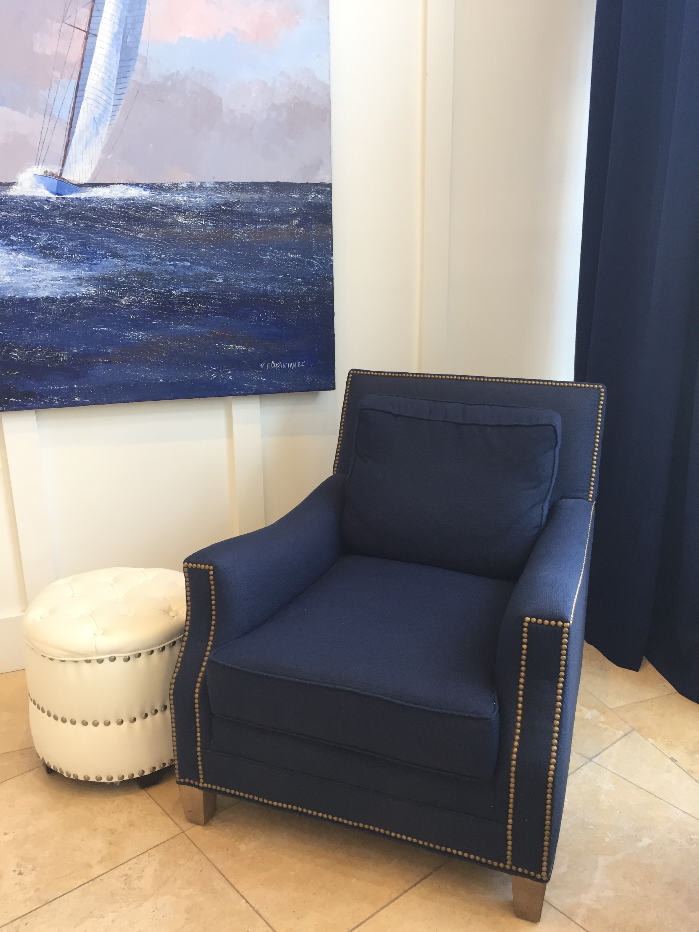 Blue armchair nailheads
